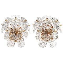 1970s Germany Kinkeldey Starburst Wall Sconces Crystals on Gilt-Brass, Set of 2
