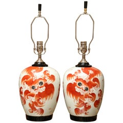 Pair of Super Chinese Dragon Ginger Drawer Table Lamp