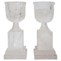 Pair of Superb and Unusual Art Deco Style Cut Rock Crystal Urns