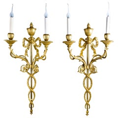 Pair of Superb Antique French Louis XVI Style Gilt Bronze Two-Light Wall Sconces