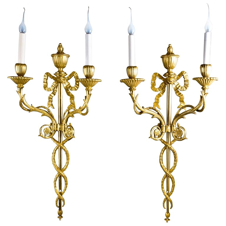 Pair of Superb Antique French Louis XVI Style Gilt Bronze Two-Light Wall Sconces For Sale