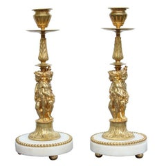 Pair of Superb Bronze Dore Candlesticks