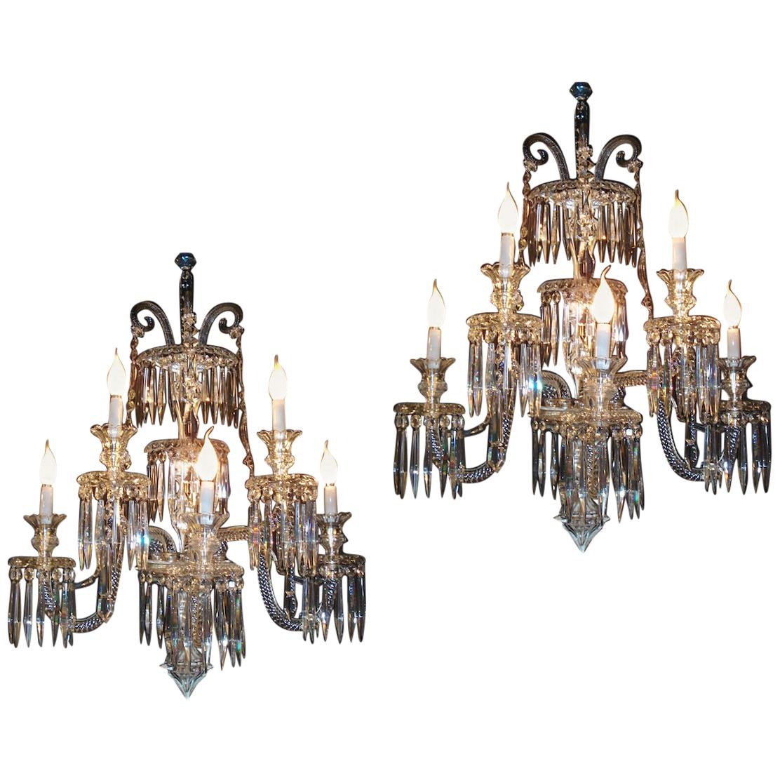 Pair of Superb French Baccarat Crystal Five-Light Sconces