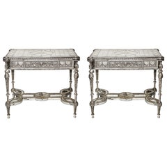 Pair of Superb French Louis XVI Style Silver Bronze and Antiqued Mirrored Tables