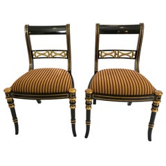 Pair of Superb Regency Style Maitland Smith Salon Side Chairs