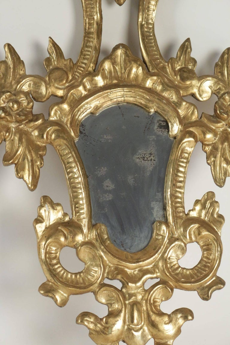 Pair of Superior Quality Gold Gilt Wooden Hand Carved Mirrors Napoleon III For Sale 2