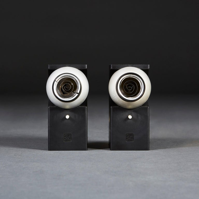 A pair of Superjet spotlights, designed by Robert Heritage for Concord Lighting International Ltd. The Superjet low-voltage reading light with moulded black polypropylene body and rotating anodized aluminum head with spiraling metal covers. Winner