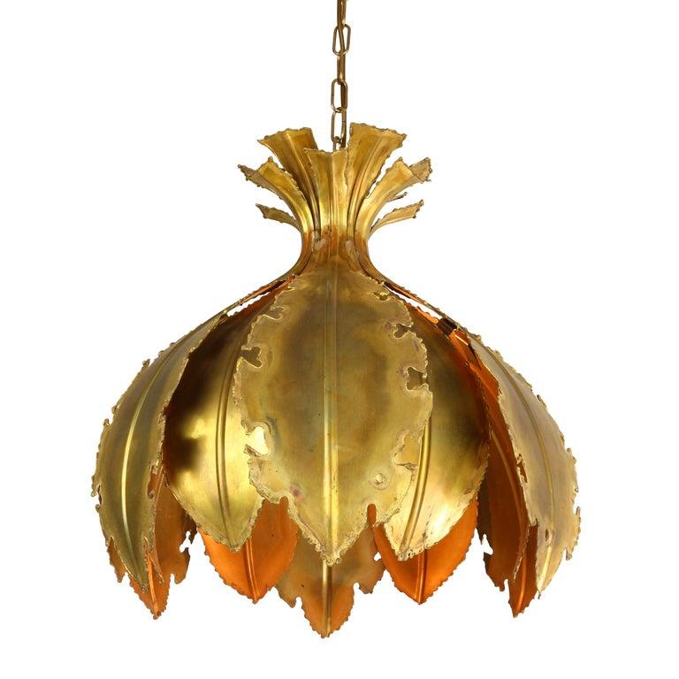 Danish Pair of Svend Aage for Holm Sorensen Brutalist Acid Treated Brass Pendant Lamps For Sale