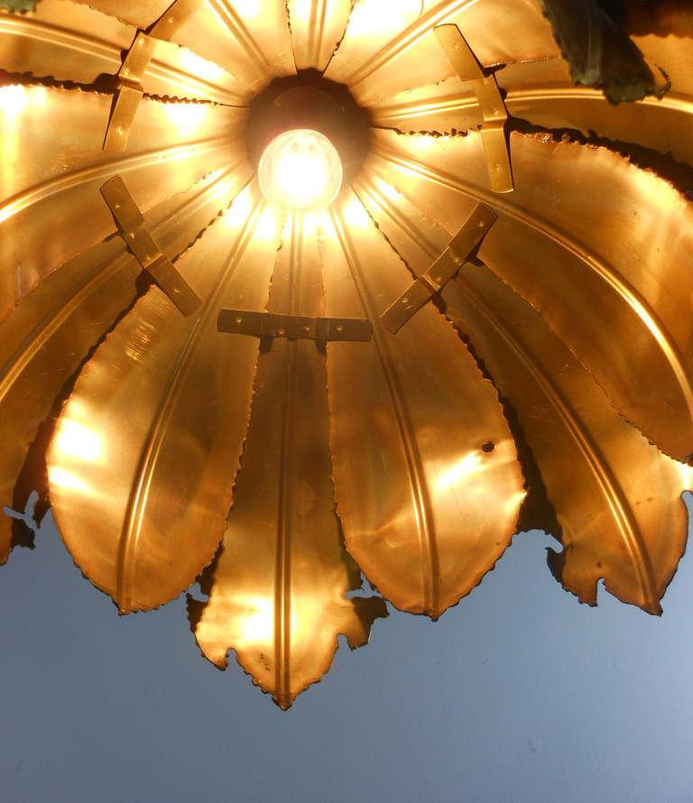 Pair of Svend Aage for Holm Sorensen Brutalist Acid Treated Brass Pendant Lamps For Sale 1