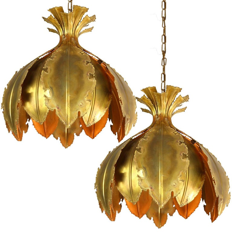 Pair of Svend Aage for Holm Sorensen Brutalist Acid Treated Brass Pendant Lamps For Sale 3