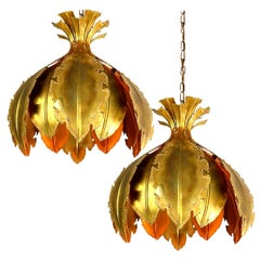 Pair of Svend Aage for Holm Sorensen Brutalist Acid Treated Brass Pendant Lamps