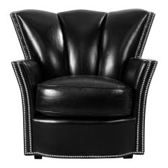 Pair of Swaim Contemporary Black Leather Club Chairs