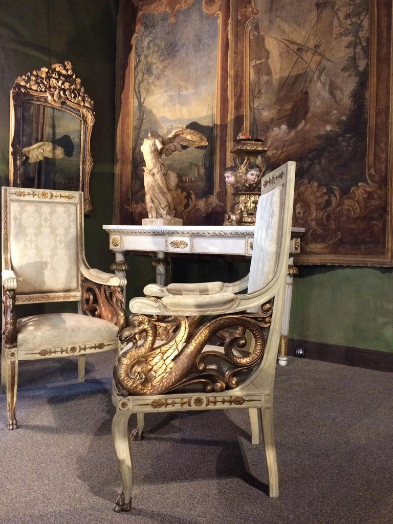 Empire Pair of Swan 19th Century Armchairs For Sale