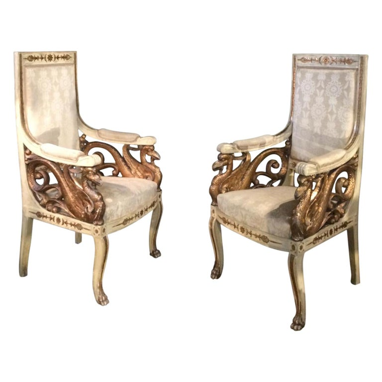 Pair of Swan 19th Century Armchairs For Sale
