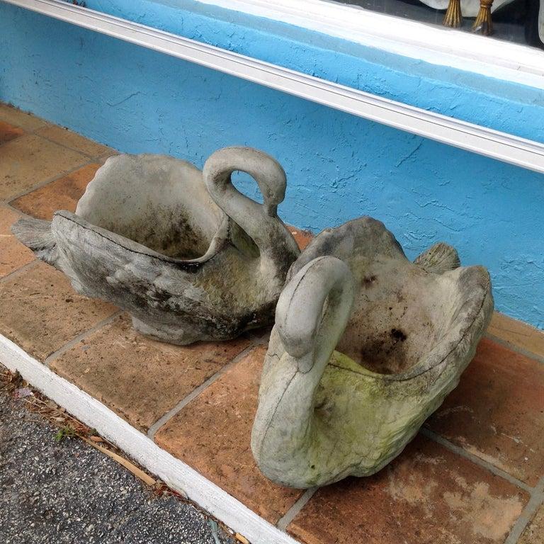 Pair of Swan Motif Planters For Sale 4