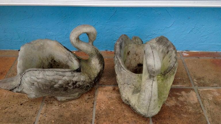 American Pair of Swan Motif Planters For Sale