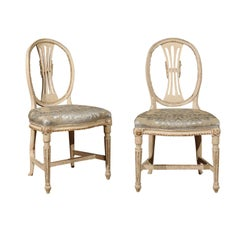 Pair of Swedish 1800s Gustavian Oval Back Chairs, Upholstered in Fortuny Fabric