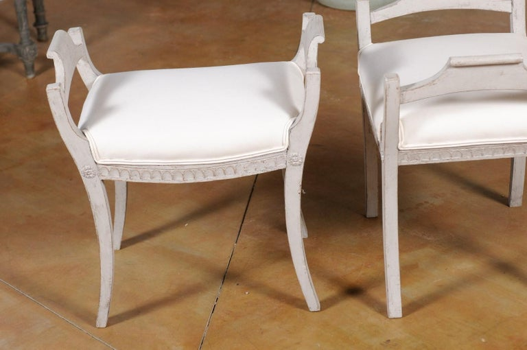 Wood Pair of Swedish 1860s Neoclassical Style Grey Painted Benches with New Fabric For Sale