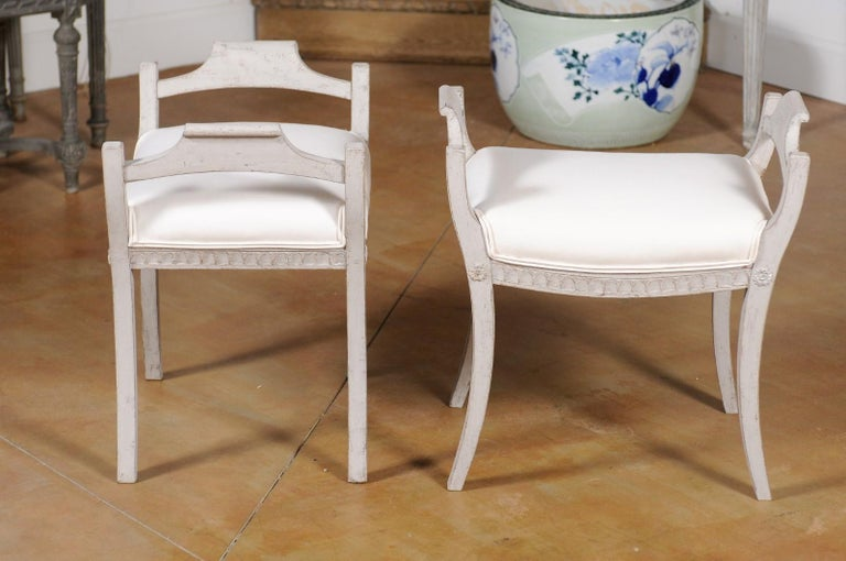 Pair of Swedish 1860s Neoclassical Style Grey Painted Benches with New Fabric For Sale 1