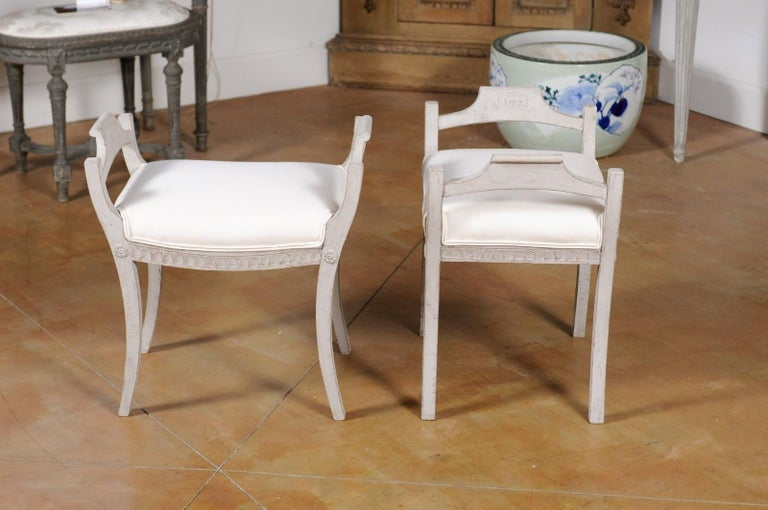 Pair of Swedish 1860s Neoclassical Style Grey Painted Benches with New Fabric For Sale 2