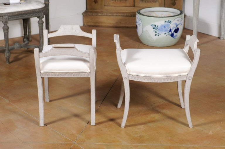 Pair of Swedish 1860s Neoclassical Style Grey Painted Benches with New Fabric For Sale 3