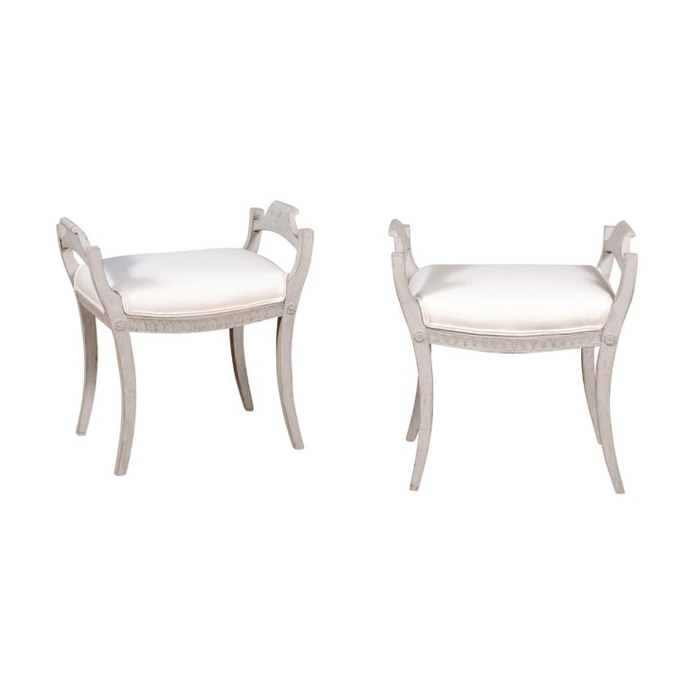 Pair of Swedish 1860s Neoclassical Style Grey Painted Benches with New Fabric For Sale