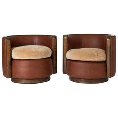 Pair of Swedish 1930s Leather and Mohair Lounge Chairs