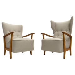 Pair of Swedish 1950s Lounge Chairs Senior Wingback, Lady Chair New Upholstery