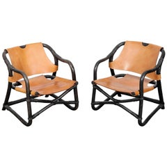 Pair of Swedish 1970s Black Lacquered Bamboo Chairs with Saddle Leather
