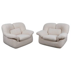 Pair of Swedish 1970s Low, Wide Lounge Chairs Reupholstered in Boucle