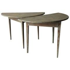 Pair of Swedish 19th Century Demilune Tables