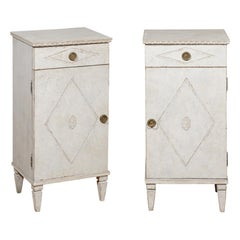 Pair of Swedish 19th Century Gustavian Style Nightstands with Drawers and Doors