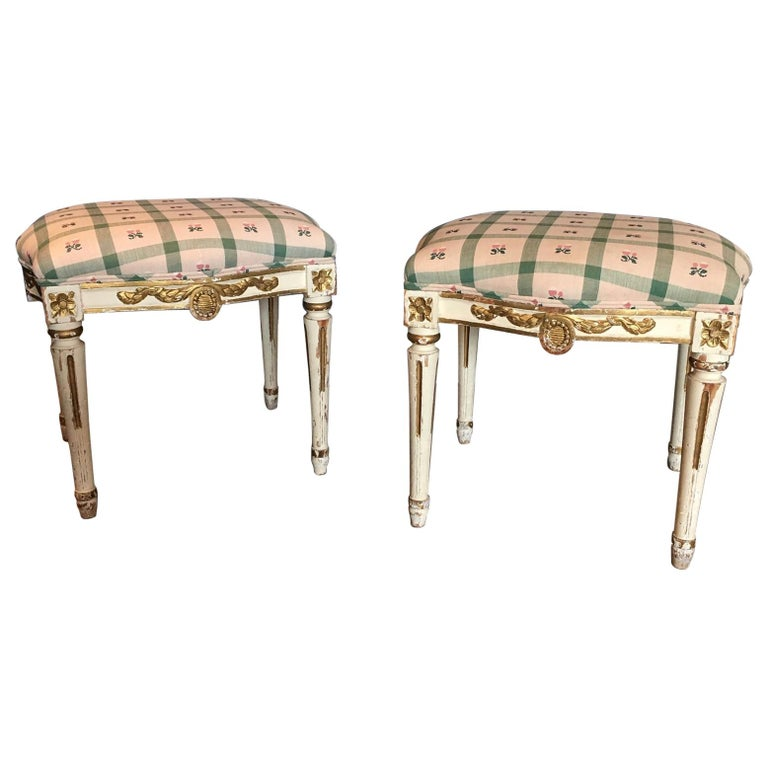 Pair of Swedish 19th Century Gustavian Style Parcel Gilt Stools For Sale