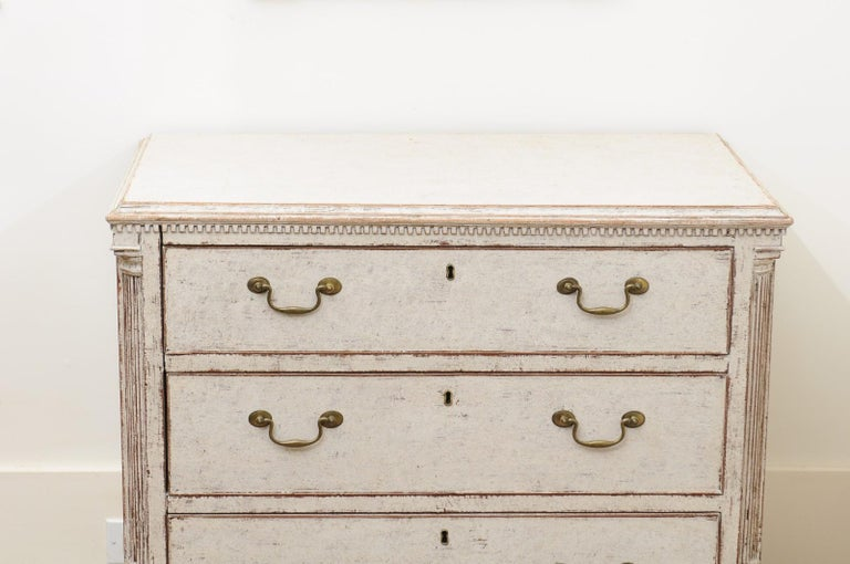 Pair of Swedish 19th Century Painted Three-Drawer Chests with Semi Columns In Good Condition For Sale In Atlanta, GA