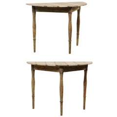Pair of Swedish 19th Century Painted Wood Demilune Tables with Subtle Stripes