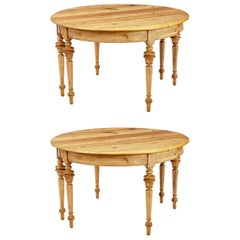 Pair of Swedish 19th Century Pine Demilune Occasional Tables