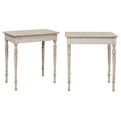 Pair of Swedish 19th Century Tables with Turned Legs and Distressed Finish