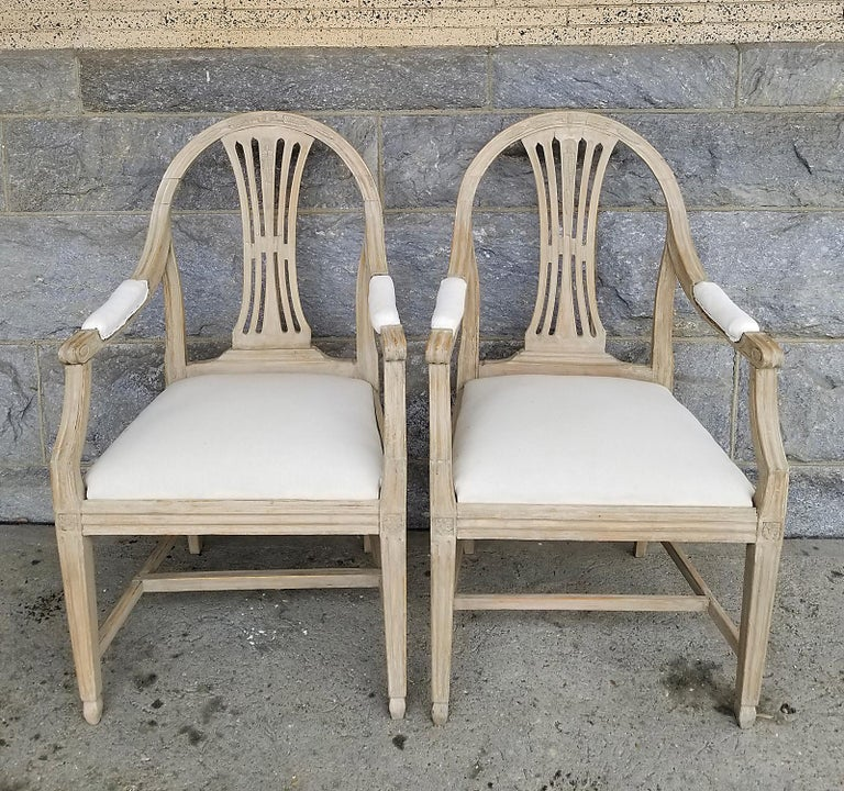 Gustavian Pair of Swedish Armchairs with Wheat Sheaf Motif