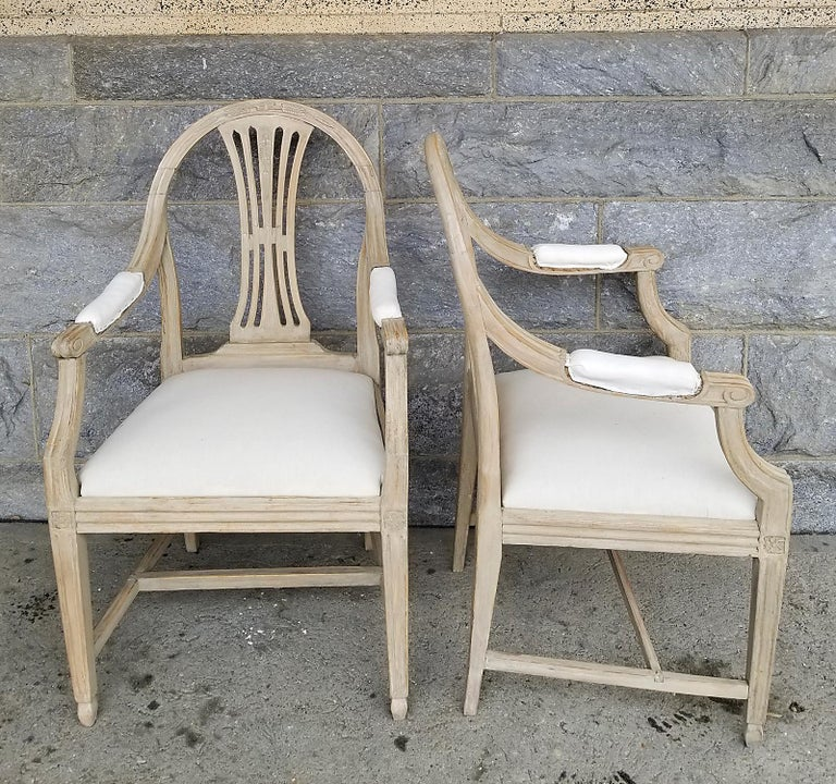 Painted Pair of Swedish Armchairs with Wheat Sheaf Motif
