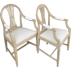Pair of Swedish Armchairs with Wheat Sheaf Motif