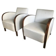 Swedish Art Deco Club Chair, Stained Birch and Cream Upholstery, Pairs available