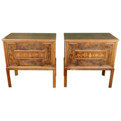 Pair of Swedish Art Deco Inlaid Chests in Highly Figured Walnut, circa 1920