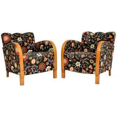 Pair of Swedish Art Deco Satin Birch Armchairs – Fabric by Josef Frank