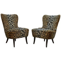 Pair of Swedish Art Moderne Leopard Velvet Slipper Chairs