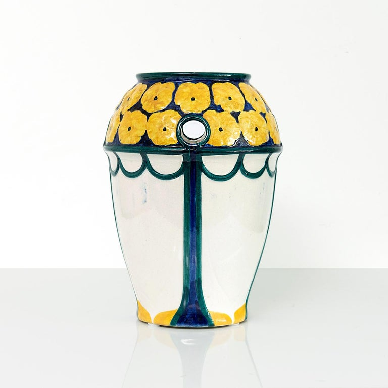 Scandinavian Pair of Swedish Art Nouveau Ceramic Vases with a Crown of Yellow Flowers For Sale