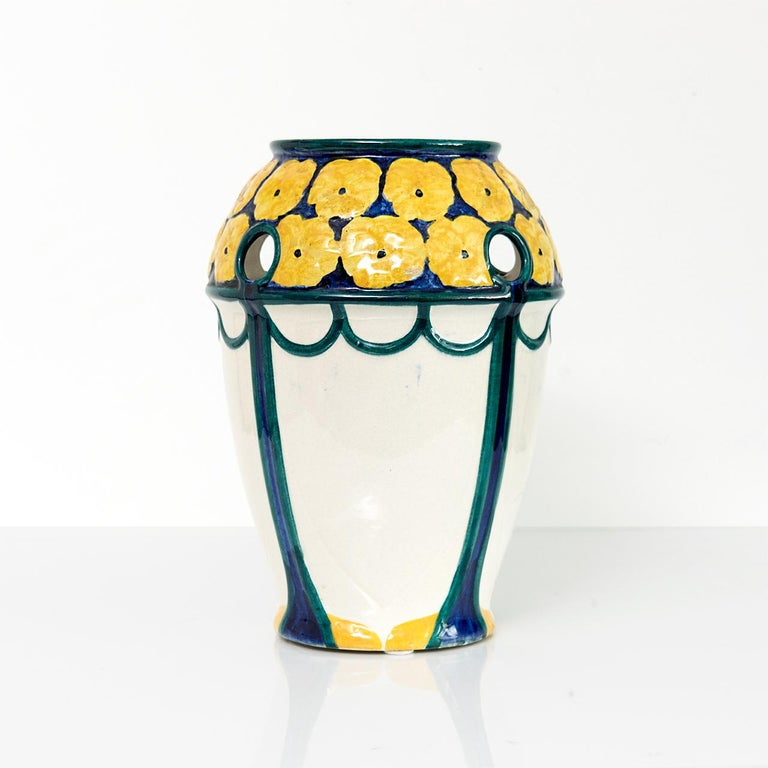 Hand-Painted Pair of Swedish Art Nouveau Ceramic Vases with a Crown of Yellow Flowers For Sale