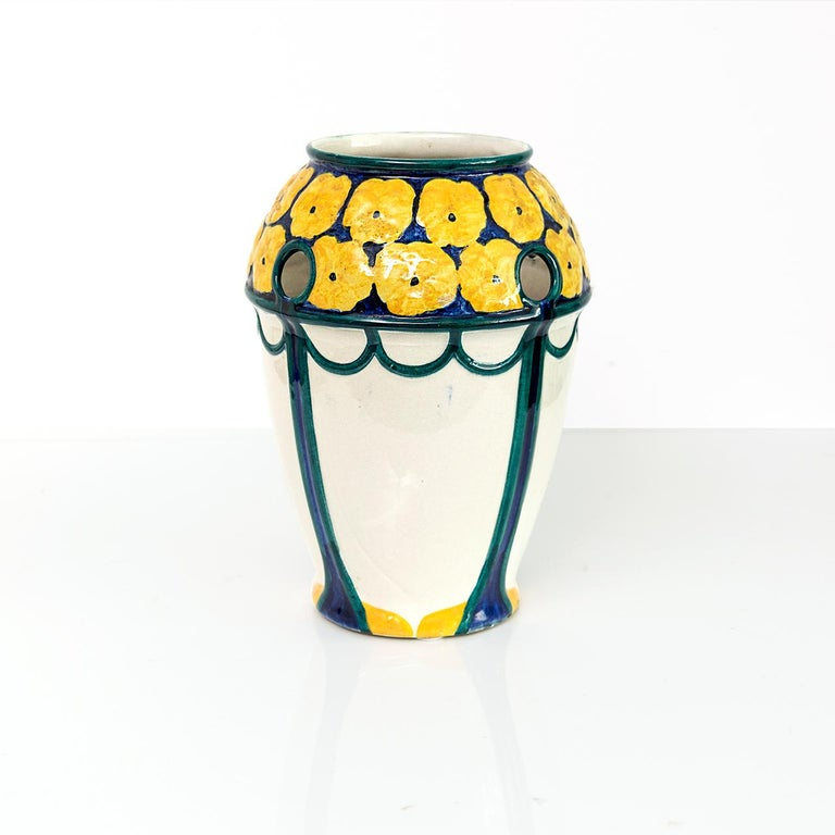 Pair of Swedish Art Nouveau Ceramic Vases with a Crown of Yellow Flowers In Good Condition For Sale In New York, NY