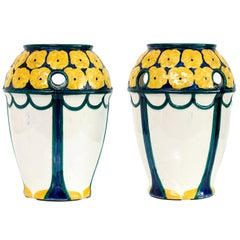 Pair of Swedish Art Nouveau Ceramic Vases with a Crown of Yellow Flowers