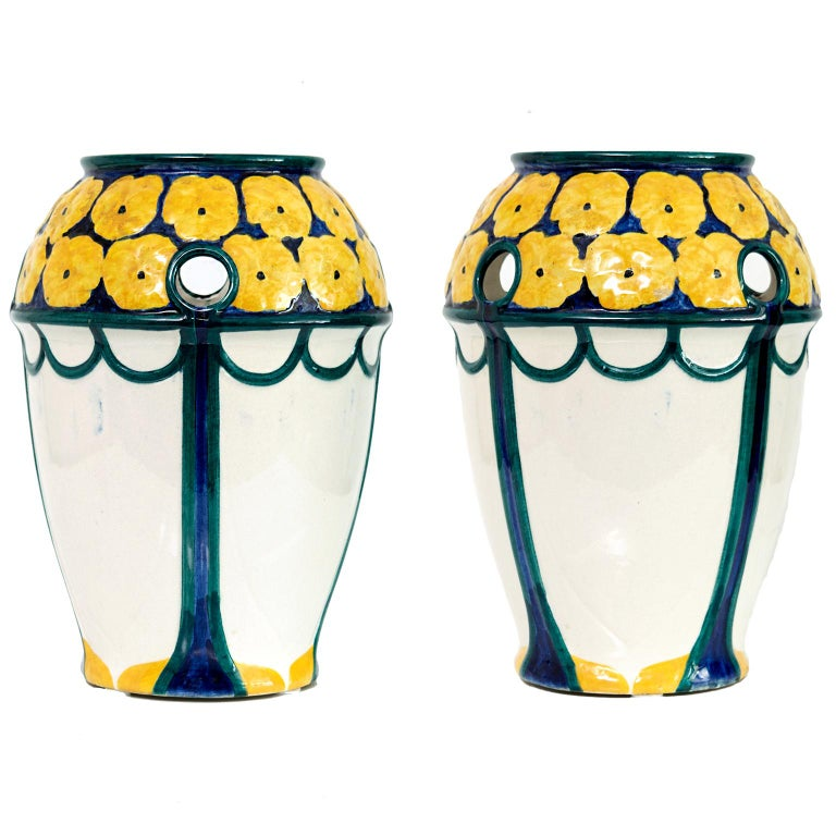 Pair of Swedish Art Nouveau Ceramic Vases with a Crown of Yellow Flowers For Sale