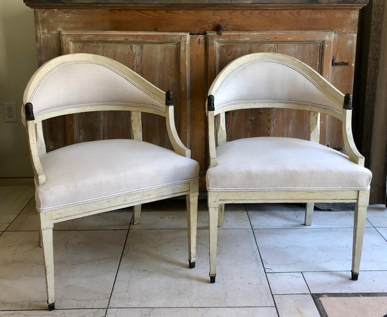Neoclassical Pair of Swedish Barrel Back Chairs, Sweden, circa 1890 For Sale